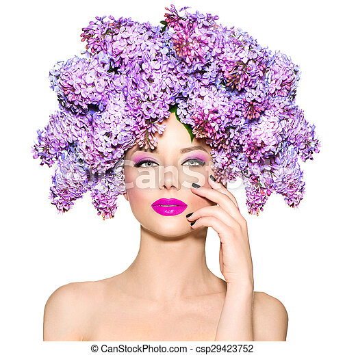 Beauty fashion model girl with lilac flowers hairstyle - csp29423752