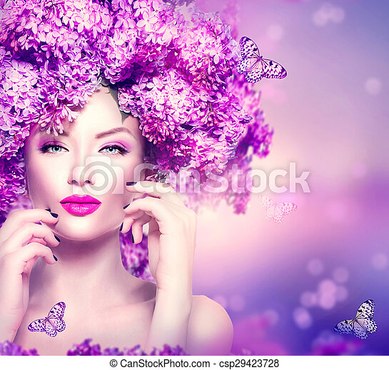 Beauty fashion model girl with lilac flowers hairstyle - csp29423728