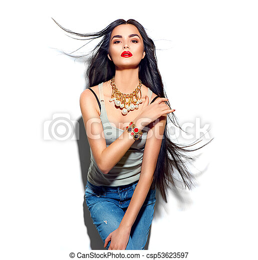 Beauty fashion model girl with long straight flying hair - csp53623597