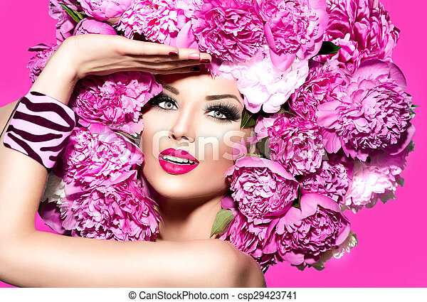 Beauty fashion model girl with pink peony hairstyle - csp29423741