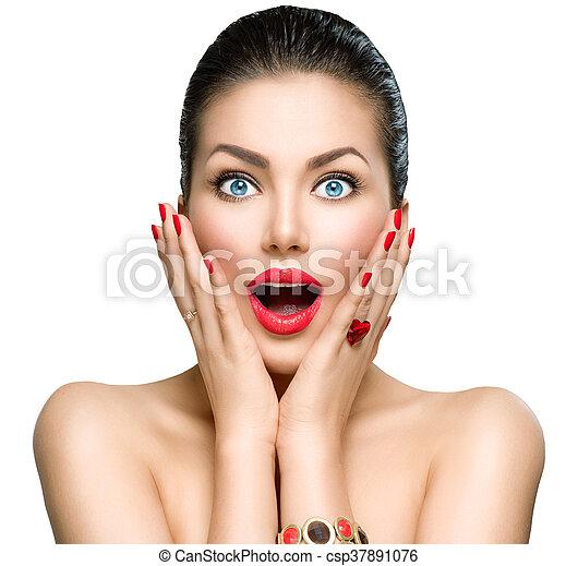 Beauty fashion surprised woman portrait - csp37891076