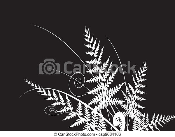 beauty fern dark background - csp9684106
