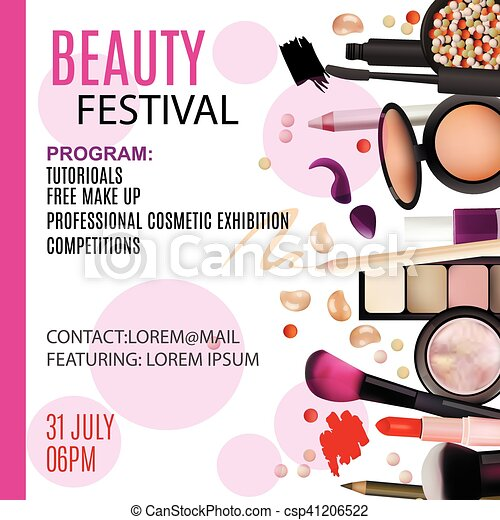 beauty festival poster design cosmetic products professional make