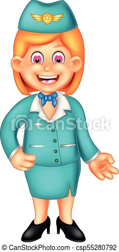 beauty flight attendant cartoon standing with smiling and waving - csp55280792