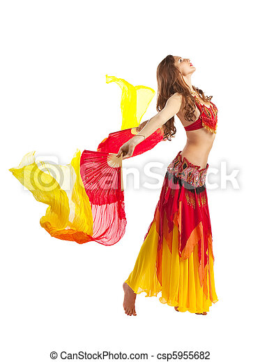 Beauty girl dance with fantail in oriental costume - csp5955682