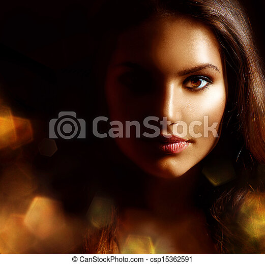Beauty Girl Dark Portrait with Golden Sparks. Mysterious Woman  - csp15362591