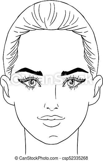 Beauty girl face. Art vector work illustration - csp52335268