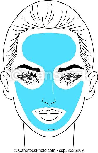 Beauty girl face. Art vector work illustration - csp52335269