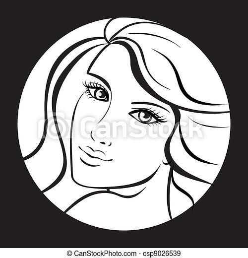 beauty girl face. Art vector work illustration - csp9026539