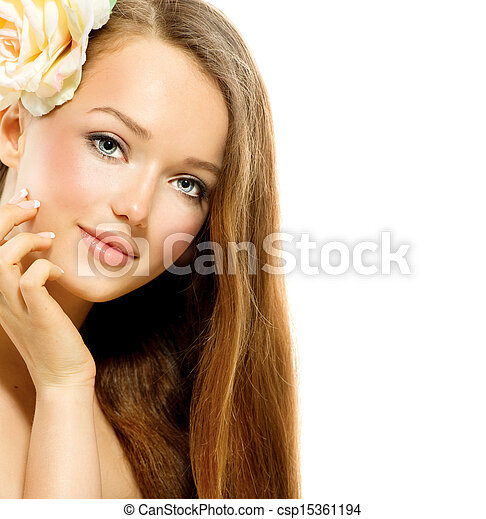Beauty Girl. Healthy Long Hair and Perfect Clear Skin - csp15361194