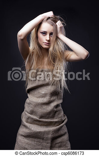 Beauty girl in rag look at you - csp6086173