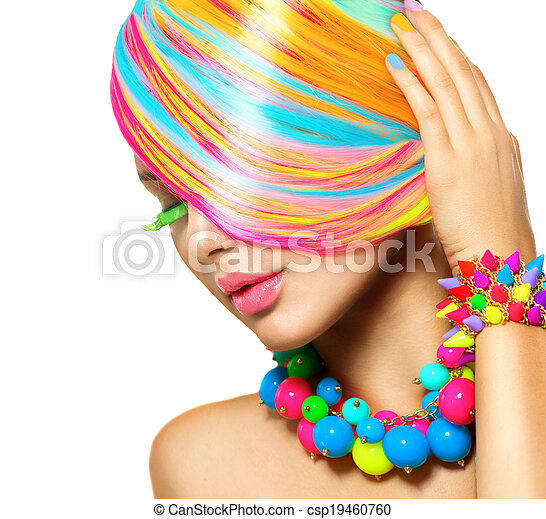 Beauty Girl Portrait with Colorful Makeup, Hair and Accessories - csp19460760