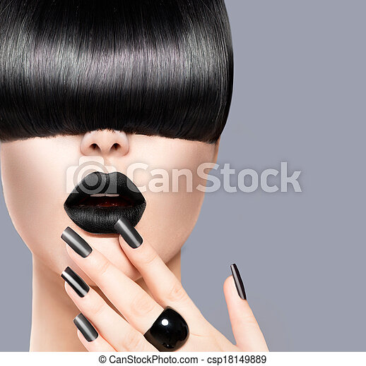 Beauty Girl Portrait with Trendy Hairstyle, Black Lips and Nails - csp18149889