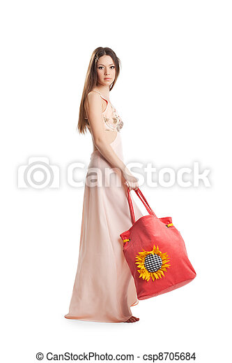 Beauty girl walk in rose dress and red beach bag - csp8705684