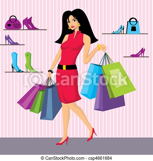 beauty girl with bags - csp4661684