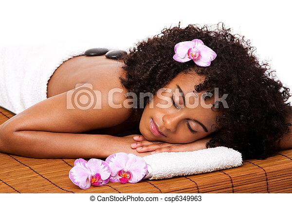 Beauty health day spa - hot stone massage - csp6349963