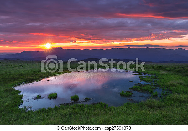 beauty lake in high mountains - csp27591373