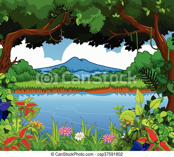 beauty lake with landscape view bac - csp37591802