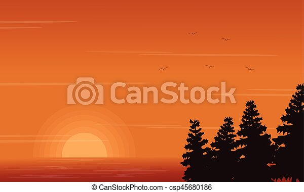 Beauty landscape of lake with spruce silhouettes - csp45680186