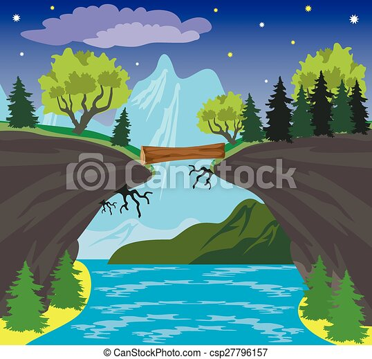 Beauty landscape with lake and mountain background - csp27796157
