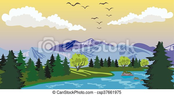 Beauty landscape with lake and mountain - csp37661975