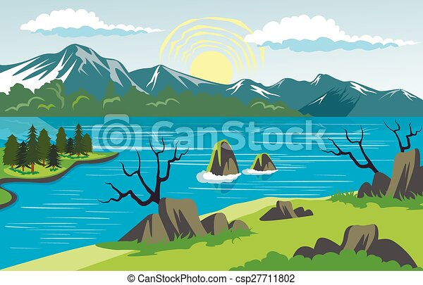 Beauty landscape with lake and mountain background - csp27711802