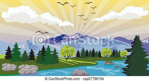Beauty landscape with sunrise under lake and mountain - csp27796154
