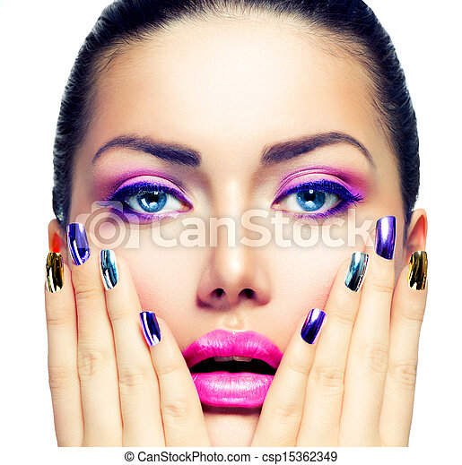 Beauty Makeup. Purple Make-up and Colorful Bright Nails - csp15362349