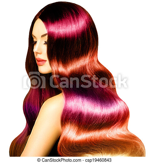 Beauty Model Girl with Long Healthy Colorful Wavy Hair - csp19460843
