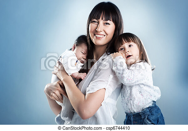 Beauty mother with her children - csp6744410