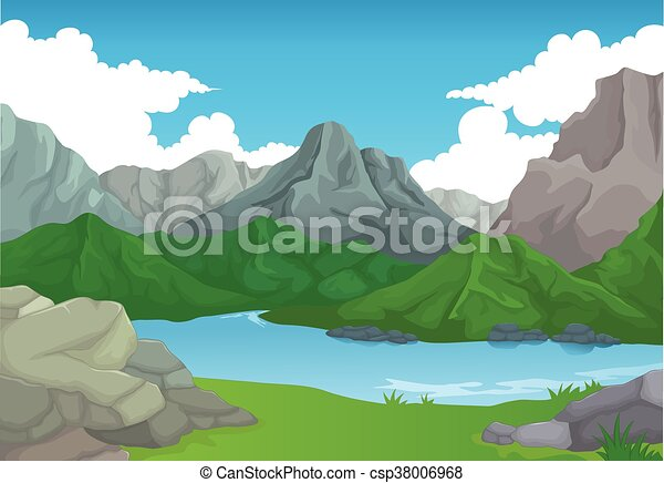 beauty mountain with lake bakcgroun - csp38006968