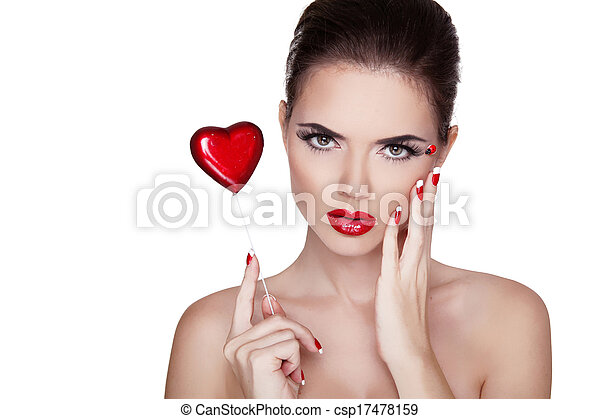 Beauty Portrait. Beautiful Spa Woman with red lips, manicured polish nails isolated on white background. Valentines day concept  - csp17478159