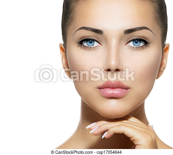 Beauty Portrait. Beautiful Spa Woman Touching her Face - csp17054644