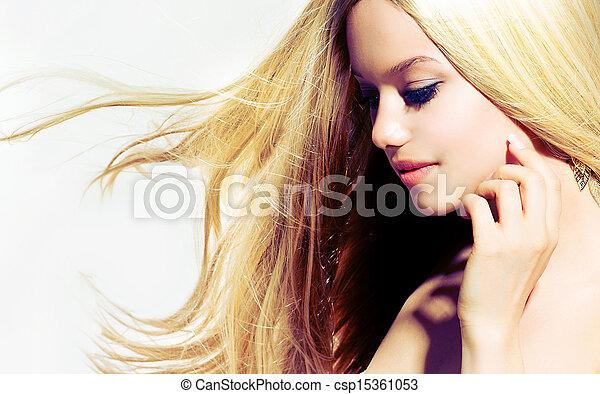Beauty Portrait. Beautiful young Woman Touching her Face  - csp15361053