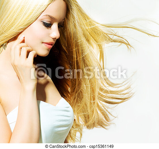 Beauty Portrait. Beautiful young Woman Touching her Face - csp15361149