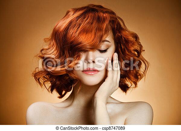Beauty Portrait. Curly Hair  - csp8747089