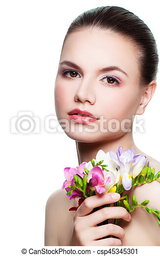 Beauty Portrait of Perfect Woman. Cute Face and Flowers Isolated - csp45345301