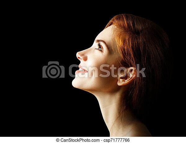 Beauty portrait of redhead woman. - csp71777766