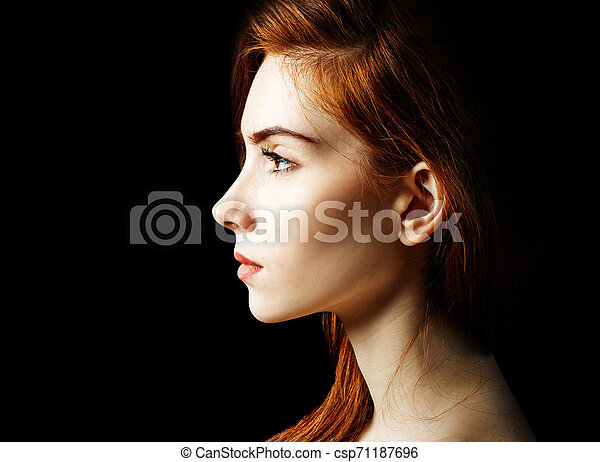 Beauty portrait of redhead woman. - csp71187696