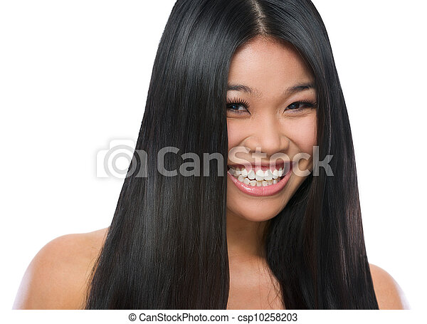 Beauty portrait of smiling asian girl smooth long straight hair isolated on white - csp10258203
