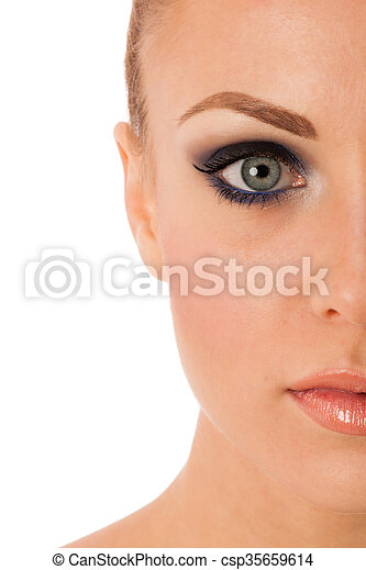 beauty portrait of woman with perfect makeup smokey eyes full lips