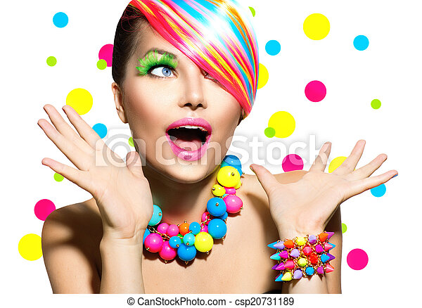 Beauty Portrait with Colorful Makeup Manicure and Hairstyle - csp20731189