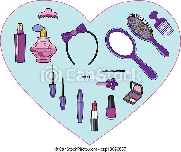 Beauty Products In A Heart Vector
