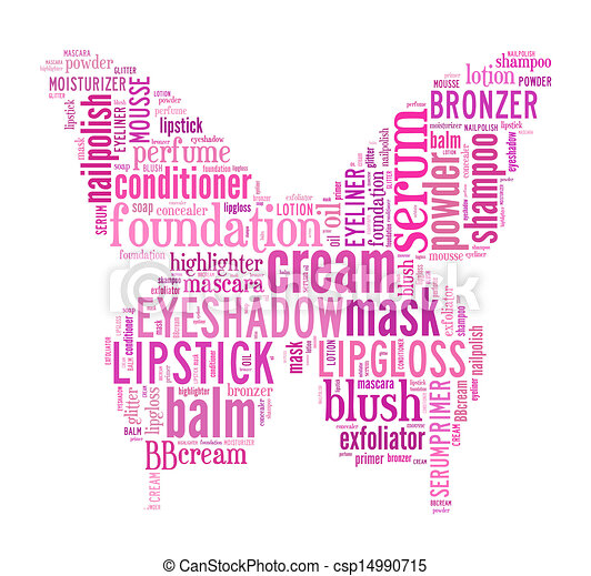 Beauty Products Word Cloud Stock Illustration
