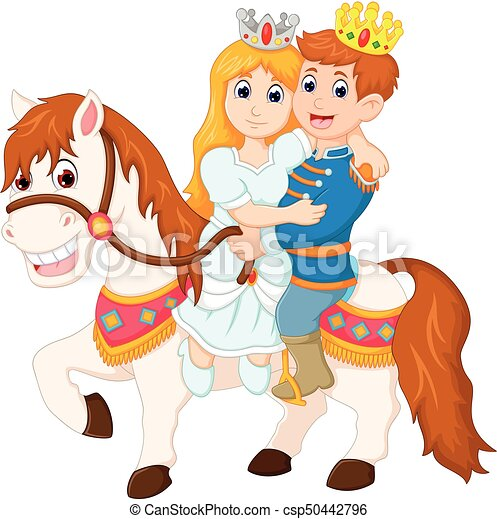 Vector Ilustration Of Beauty Queen And Handsome King Cartoon Ridding Horse