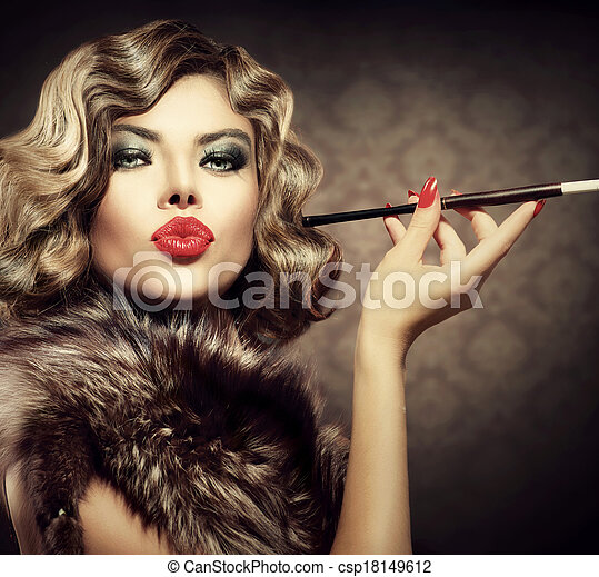 Beauty Retro Woman with Mouthpiece. Vintage Styled Beauty - csp18149612