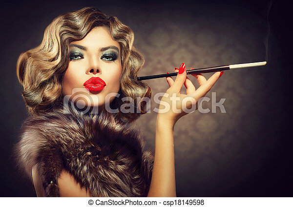 Beauty Retro Woman with Mouthpiece. Vintage Styled Beauty - csp18149598