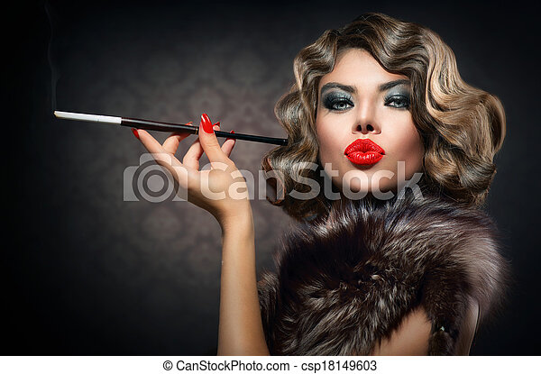 Beauty Retro Woman with Mouthpiece. Vintage Styled Beauty - csp18149603