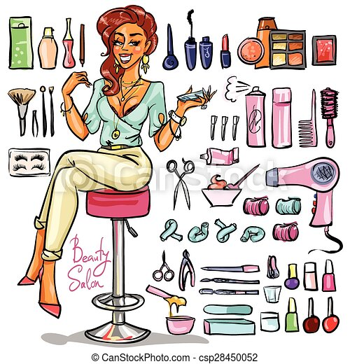 Beauty Salon Cartoon Collection Vector