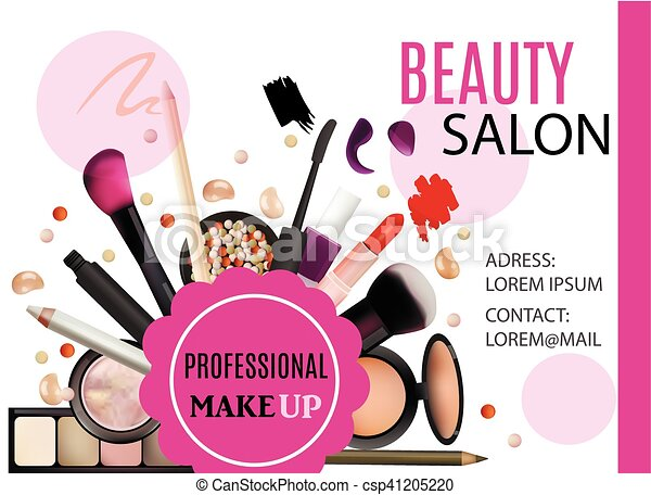 Beauty Salon Design Cosmetic Products Professional Make Up Care Printable Template For Business Banner Poster Voucher